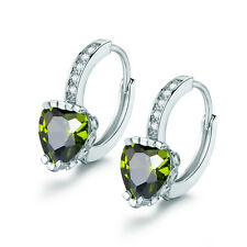 HUCHE Olive Green Sapphire Heart Cut Gems White Gold Filled Lady Party Earrings