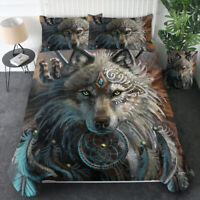 3D Dreamcatcher Wolf Duvet Cover Comforter Cover Bedding Set Pillow Case Queen