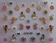 Christmas 3D Nail Art Stickers Decals Gold Snowflakes Baubles Cherubs (XF6108)