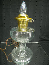 Vintage ALADDIN Beehive Pattern Clear Oil Lamp with Electric Burner