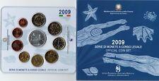 2009 Italia Set Annuale Divisionale Mondiale Nuoto Con Euro 5 in Argento Fdc Unc