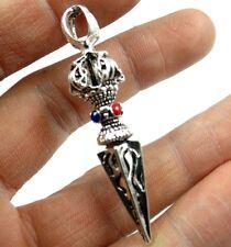 Tibetan Silver Buddhist Dragon head Drop the magic pestle Pendant amulet N 7