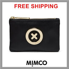 Mimco BLACK SUPERNATURAL Leather Small MIM Pouch ROSE GOLD Wallet Purse BNWT DF
