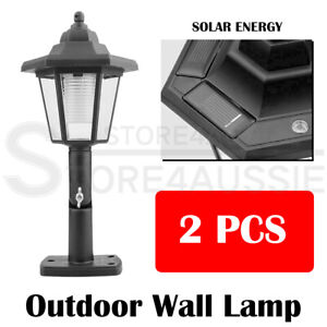 LED Outdoor Solar Powered Wall Lantern  Lights Garden Pathway Lamp 2pcs