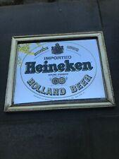 Heineken Beer Framed Mirror Imported Holland Bar Sign Man Cave Vintage 70s 80s