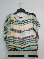 Style & Co Women's Blouse Top Short Sleeve Scoop Neck Multicolor Striped.Size S