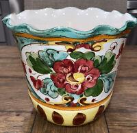 "Antique Large VASE FLOWER POT Italian Faience Art Pottery Majolica ITALY 7""H 8""W"