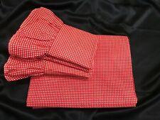 Ralph Lauren Red & White Gingham Queen Flat Sheet & Pair STD Ruffled Pillowcases