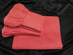 Ralph Lauren Red & White Gingham Queen Flat Sheet & Pair STD Ruffled Pillowcases