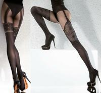 Highly Fashionable Patterned Microfibre Suspender Tights 40 Den by Fiore