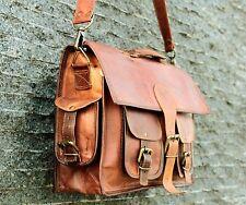 Men's Real Goat Leather Messenger Bag Shoulder Laptop Bag Briefcase satchel