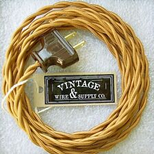 Golden Bronze Cloth Covered Rewire Kit Wire & Plug Vintage Light Antique Table