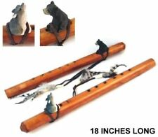 large WOOD FLUTE WITH carved wooden WOLF totem feathers musical wolves new