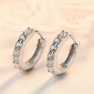 Pretty 925 Silver Hoop Earrings Women Ear Stuld Cubic Zirconia Wedding Jewelry