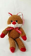 Fox Plush Stuffed Animal Brown and Red With Heart Bow Tie sparkly body