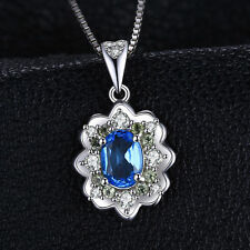 1ct Genuine Swiss Blue Topaz & Peridot Necklace Pendant Sterling Silver Special