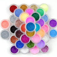 25 Mix Colors Art Powder GLITTER Dust SET UV Acrylic Nail Tips Glitters Manicure