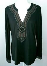 Lucky Brand Black Crochet Embroidered Long Sleeve V Neck Tunic Top Sz L