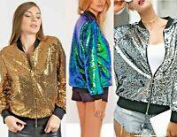 Ladies Sequin Glitter Bomber Club Dance Party Festival Costume Biker Jacket