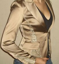Guess by Marciano CHANTELLE Sexy Gold Lace trim Contrast Super Soft Jacket 4