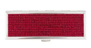 Judith LEIBER Compact Purse Mirror Slim Pocket Red Siam Crystal Silver NEW Boxed
