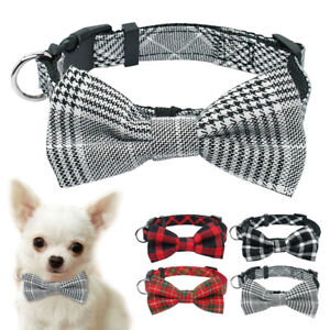 Small Dog Collar Bow Tie Soft Cotton Necklace for Pet Puppy Cat Chihuahua Yorkie