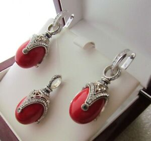 CORAL EARRINGS & PENDANT SET HANDMADE RUSSIAN SOLID STERLING SILVER 925