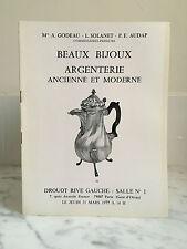 Catalogue de vente Beaux Bijoux Argenterie Ancienne et Moderne  31 Mars 1977