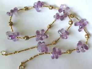 NEW BRIOLETTS FACETED NATURAL AMETHYST W/RHINESTONES GOLD FILLED NECKLACE 19''