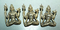 Three Brass Shiva Pendants Amulets Thailand