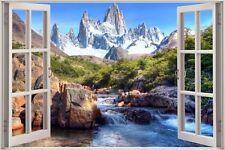 Cheap 3D Window view Enchanted River Mountain Wall Sticker Film Decal 391