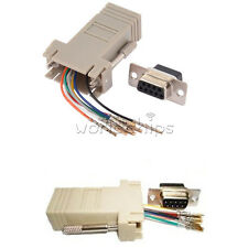 RS232 DB9 Male/Female Plug Connector RJ45 Female Buchse Ethernet Adapter New