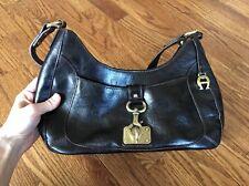 Eitenne Aigner Handbag Purse Dark Brown Leather Bronze Hardware Hook Pocketbook