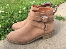 NWT H & M Light Brown Suede Ankle Boots Buckles Women Booties Western New 6