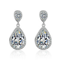 Womens 925 Sterling Silver Shiny Pear Cubic Zirconia Waterdrop Stud Earrings