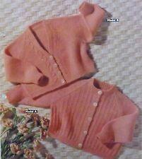 Vintage Knitting Pattern Baby Cardigans 6/12 Months 4 Ply V & Round Neck S321x