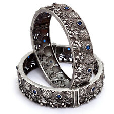 Indian Traditional Bangle/Kada Set Of Two Size 2.6 Silver Antique Tribal Jewelry