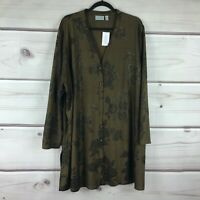 GRAVER Susan Graver Womens 3X Foiled Knit Jacquard Button Front Duster Top Gold