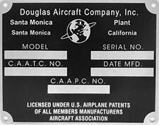 Douglas Aircraft Company Data Plate Santa Monica Plant Dpl-0119