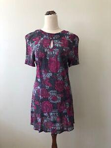Pretty Girl Size 16 Vintage 1960 Pink Grey FLOWER POWER MiniMod GOGO Tunic Dress