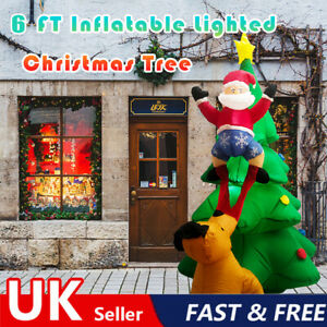 6FT LED Inflatable Airblown Santa Claus Climbing Christmas Tree Dog Yard Decor