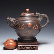 OldZiSha-Unique China Yixing Zisha Old 880cc Dragon Teapot By Artist Xu RuiPing