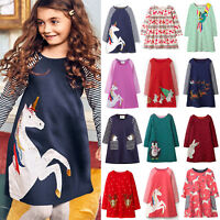 Kids Girls Unicorn Christmas Casual Long Sleeve Party Dress Clothes Jumper Tops