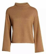 Anne Klein Women's Sz Small Mock-neck Bell-Sleeve Pullover Sweater Top Brown $89