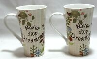 222 Fifth Helpful Owl Beige Motivational Tall Porcelain Latte Mugs Set of 2 New
