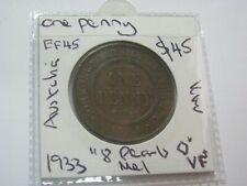 Australia Penny 1933 Coin 8 pearls  Melbourne Above average Very Fine +  $50