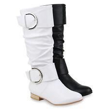 Damen Klassische Stiefel Leder-Optik Schnallen Boots 832429 Schuhe