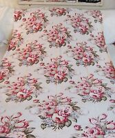VTG BARKCLOTH ERA DRAPE PANEL CURTAIN ROSES shabby PINKs Burgundy FABRIC 76x47
