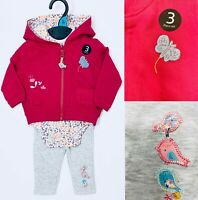 New Baby Girls 3 piece Pink Bodysuit Cardigan leggings Floral Birds Outfit Set
