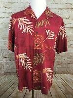 Men's CARIBBEAN JOE Shirt Large RED FLORAL PATTERN HAWAIIAN SHIRT FLAWLESS #B1